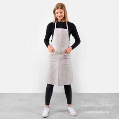 Jasny szary fartuch kuchenny w kratkę