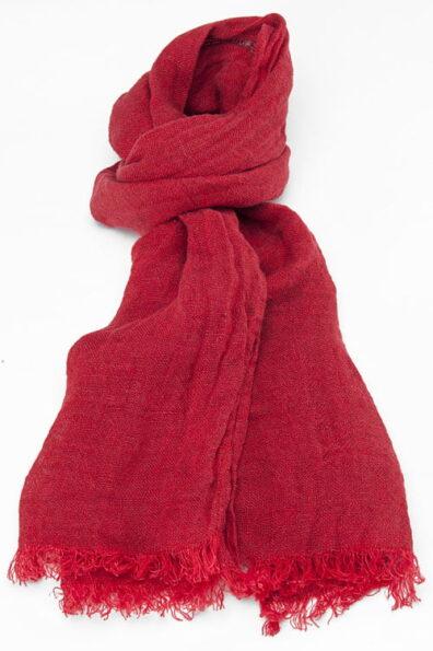 Czerwony jaskrawy szalik lniany.