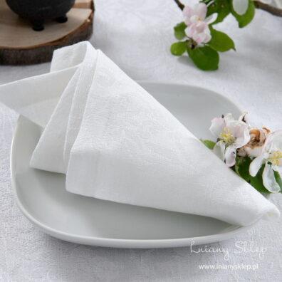 Lniana biała żakardowa serwetka bankietowa