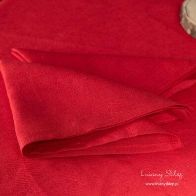 Czerwona serwetka stołowa len bawełna