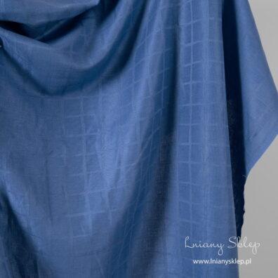 Atramentowa tkanina lniana w kratkę