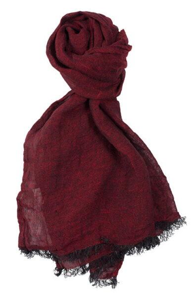 Ciemny czerwony szalik lniany.