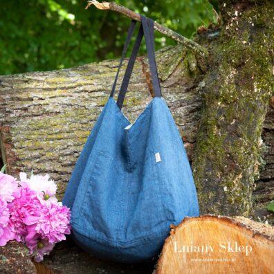 Dwustronna lniana torba niebiesko - szara