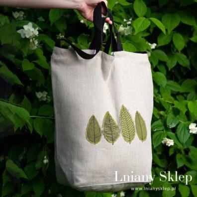 Szara lniana torba w zielone listki
