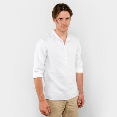 Lniana koszula męska biała ze stójką.