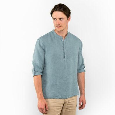 Lniana koszula męska morska zieleń ze stójką.