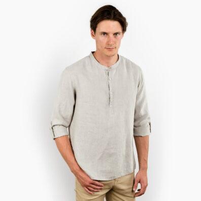 Lniana koszula męska szara ze stójką.