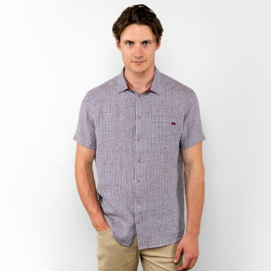 Lniana koszula męska karminowa krateczka.