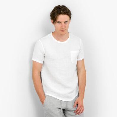 Lniana koszula męska śnieżnobiała bez zapięcia.