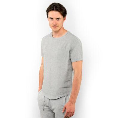 Lniana koszula męska szary melanż.