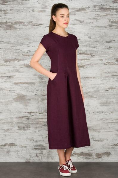 Lniana suknia. Kolor wina.