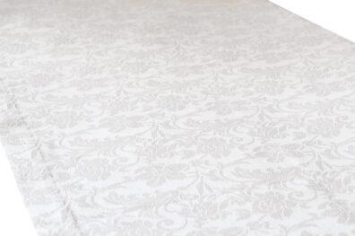 Lniany biały żakardowy bieżnik stołowy