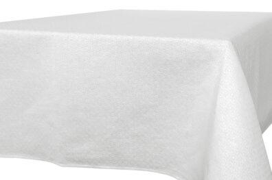 Biały lniany obrus wytkany w romby