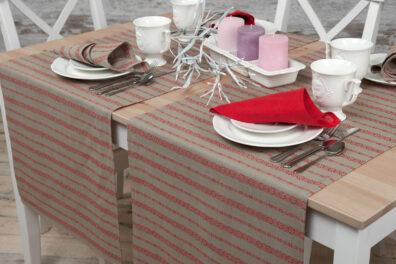 Lniany szary bieżnik stołowy w czerwone ornamenty