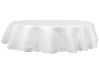 Okrągły (owalny) biały lniany obrus w romby