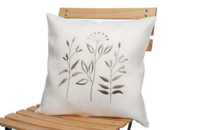 Biała lniana haftowana powłoczka na poduszkę