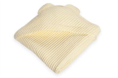 Żółty ręcznik niemowlęcy z kapturkiem - 52% len 48% bawełna