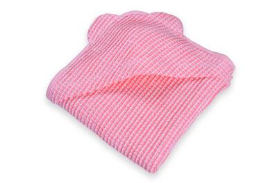 Różowy ręcznik niemowlęcy z kapturkiem - 52% len 48% bawełna