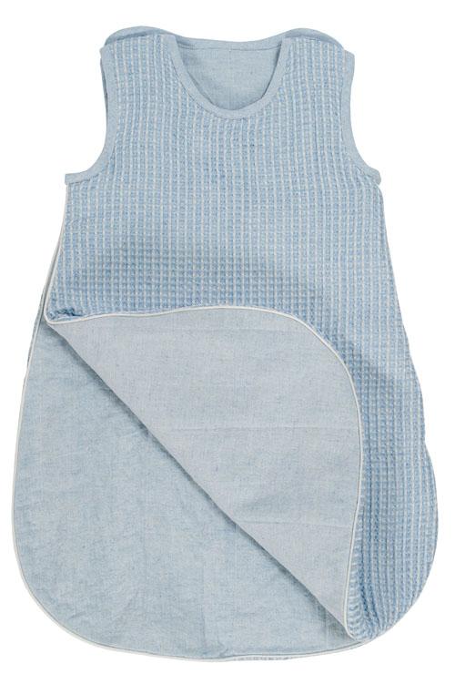 Niebieski śpiworek niemowlęcy - 52% len 48% bawełna