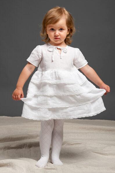 Lniana dziewczęca sukienka w stylu Carmen.