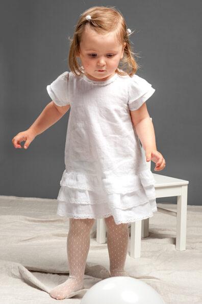 Lniana sukienka dla dziewczynki w stylu Carmen.