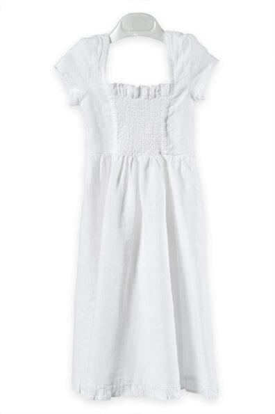 Biała sukienka z delikatnym marszczeniem.