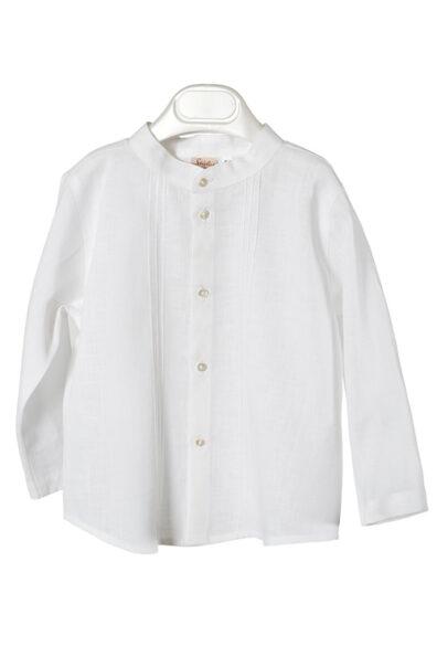 Biała lniana koszulka - ubranka do chrztu