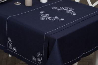 Granatowy haftowany lniany bieżnik stołowy