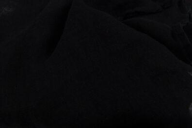 Przeźroczysta czarna tkanina lniana, prana.