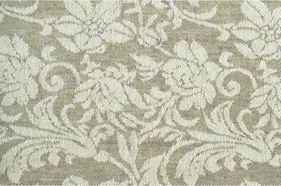 Szara żakardowa tkanina w kwiaty.