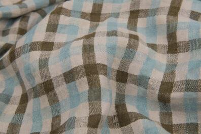Prana tkanina lniana w zieloną i niebieską kratkę.