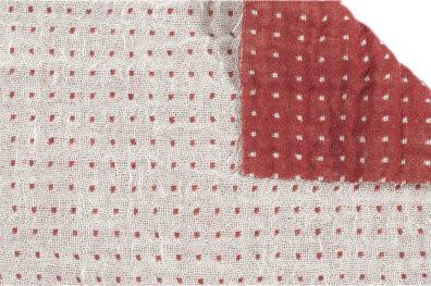 Dwustronna czerwono-biała prana tkanina lniano-bawełniana