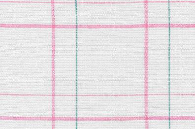 Mlecznobiała tkanina lniana w różową delikatną kratkę i wąziutkie zielone paski.