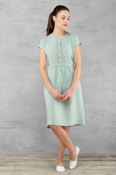 Lniana sukienka z melanżowego, zielonego lnu.