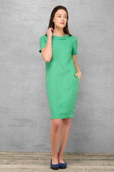 Zielona sukienka lniana.