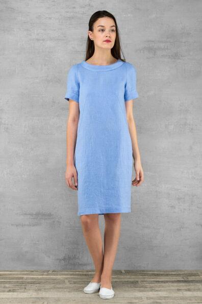 Lniana pastelowa jasnoniebieska sukienka.