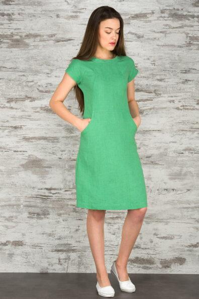 Lniana sukienka, zielona.