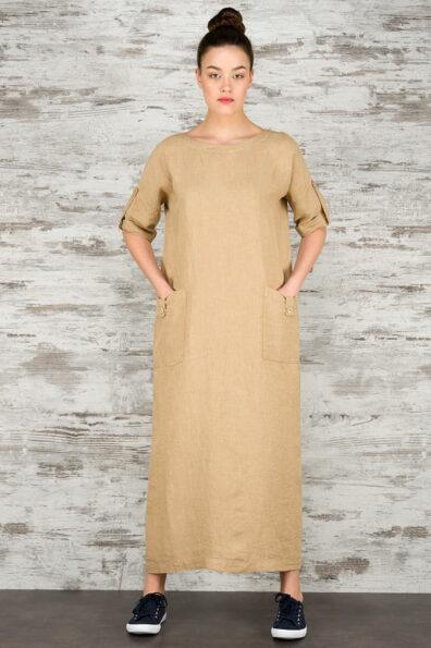 Piaskowa suknia lniana maxi.