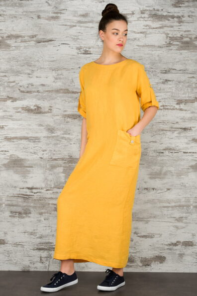 Żółta suknia lniana maxi.