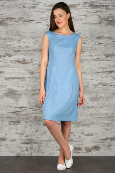 Lniana niebieska sukienka.