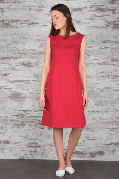 Lniana malinowa sukienka.