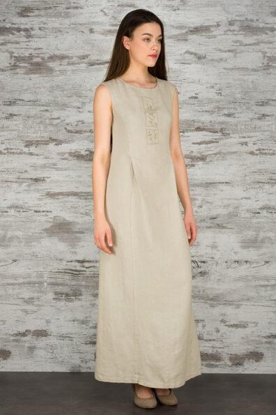 Lniana piaskowa haftowana maxi sukienka.