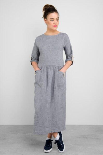 Długa suknia lniana w szaro - granatowe paski.