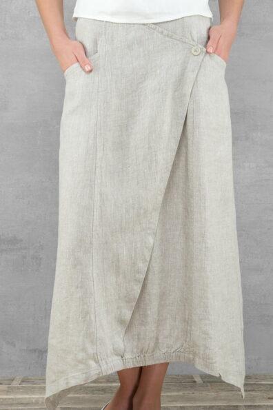 Lniana długa jasnoszara spódnica.