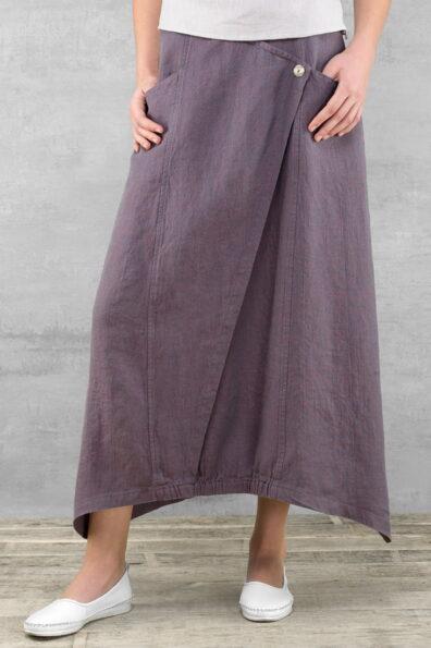 Lniana długa fioletowa spódnica.
