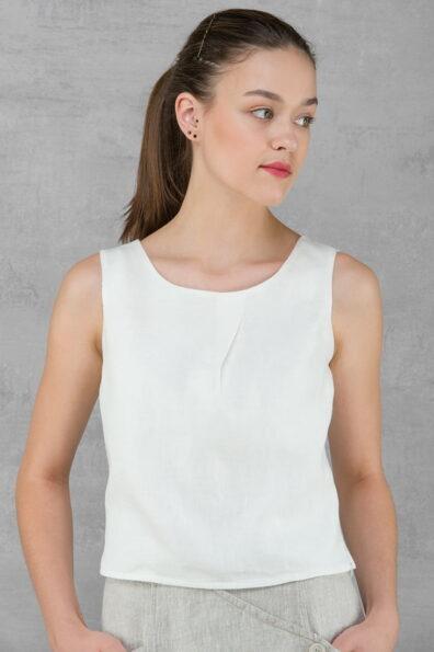 Lniana biała bluzka.