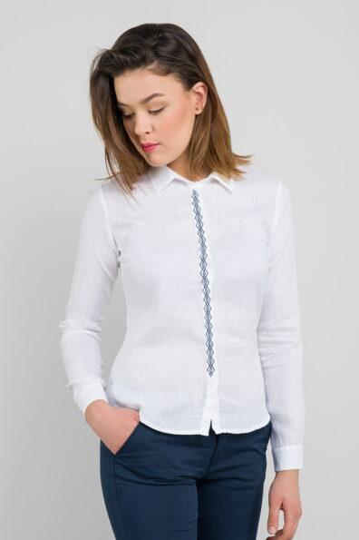 Lniana biała koszulowa bluzeczka.
