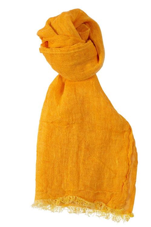 Jaskrawy żółty o pomarańczowym odcieniu lniany szliczek.