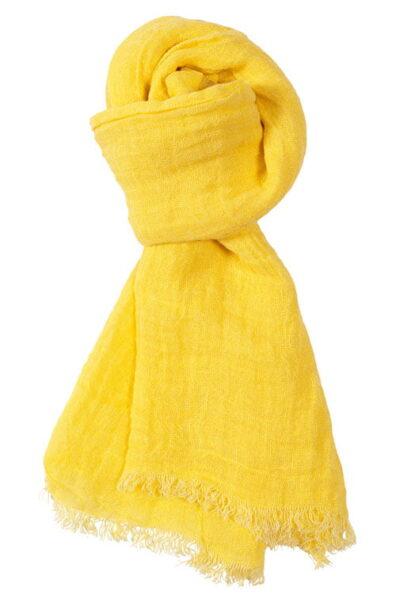 Cieniutki bananowo - żółty lniany szalik wykończony strzępionymi.