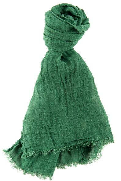 Zielony lniany szalik.